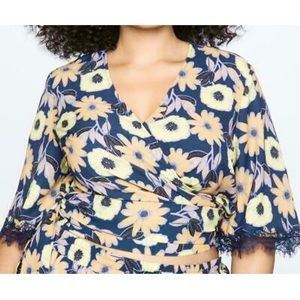 NWT Eloquii Floral Flutter Sleeve Wrap Tie Blouse